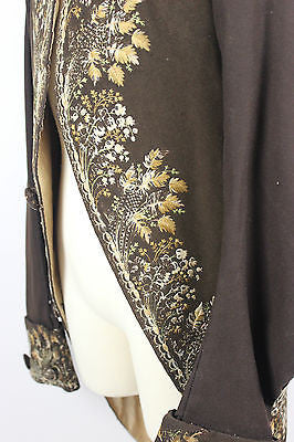 Gentlemen's 18th Century Elaborate Embroidered Brown Wool Cloth Court Coat c1770