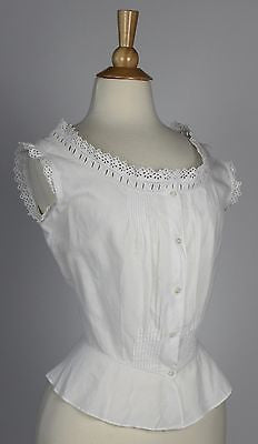 Lovely Antique Corset Cover in White Cotton Monogramed Camisole