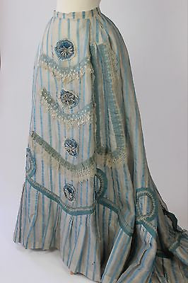19th Century Blue and White Striped Silk Gauze Skirt with Cockades Beadwork Lace