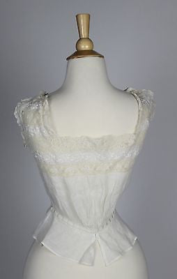 Exceptional Corset Cover Antique White Cotton Camisole Insertion Lace & Buttons