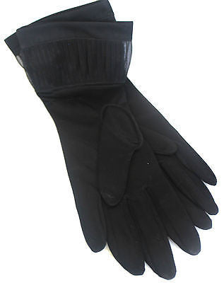 Vintage Pair of Women's Black Evening Gloves with Interesting Cuffs Keyser USA
