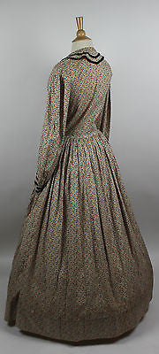 19th Century Cotton Printed One Piece Dress with Velvet Trim