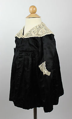 Antique Child's Silk Mourning Dress from the Mid to Late 19th Century