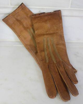 Antique Pair of Brown Leather Gloves