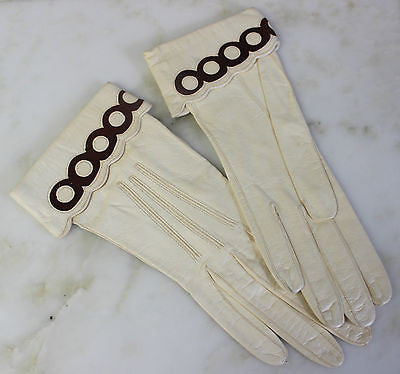 Antique Pair of White Leather Gloves with Brown Suede Trim