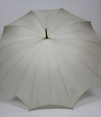 Authentic Vintage White Umbrella with Beautiful Decorative Metal Handle