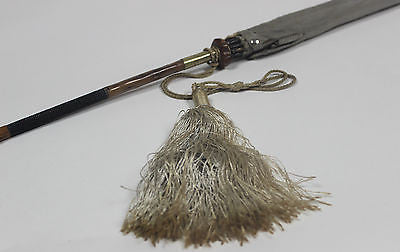 Authentic Vintage Gray Umbrella with Wooden Handle and Silk Tassel