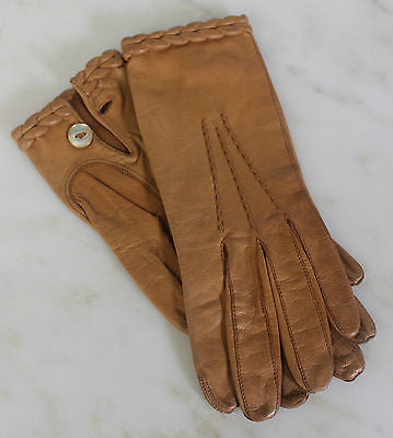 Antique Pair of Brown Leather Gloves with Leather Braided Trim