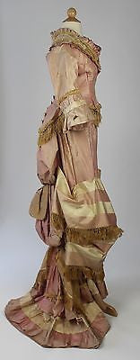 Museum Deaccession Two Piece Pink Taffeta Golden Fringe Trim Bustle Gown 1870's