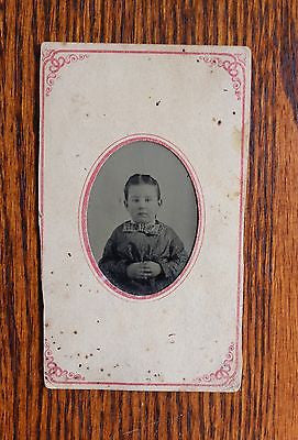 Two Original Antique Tintypes Portrait of a Woman and a Child 19th Century
