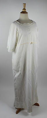 "Antique Women's White Cotton Nightgown Monogramed ""S"""