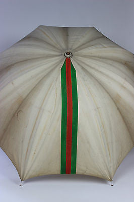 Authentic Vintage Gucci Umbrella with Classic Red and Green Stripes