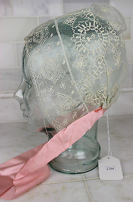 Museum Deaccession Lovely Antique White Lace Women's Cap with Pink Ribbon Ties
