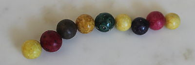 Lot of Vintage Marbles Set of 9 Clay Antique Marbles Lovely Colors