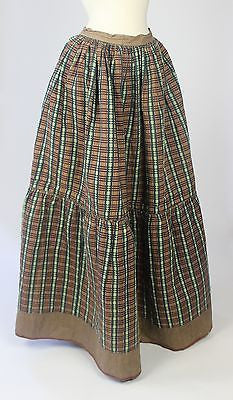 Antique Green Shot Silk Quilted Petticoat, Plaid Lining, Underskirt 19th Century