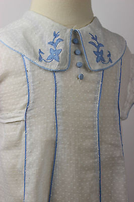 Antique White and Blue Cotton Child's Dress