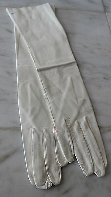 Antique Pair of White Leather Long Opera Gloves Made in Italy
