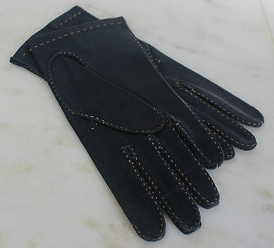 Vintage Pair of Women's Navy Blue Soft Leather Gloves with Beige Stitching