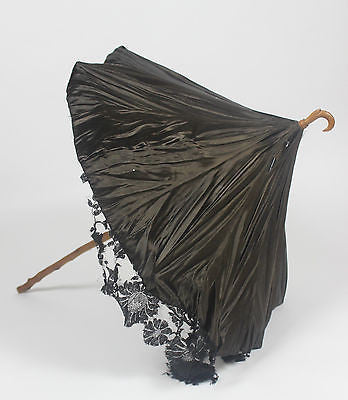 Antique Chocolate Brown Silk Parasol with Wooden Handle