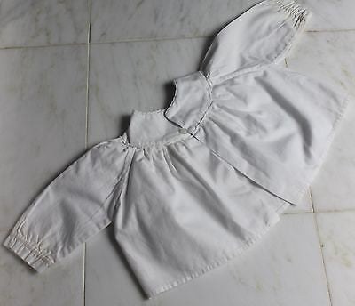 Vintage Antique White Cotton Floral Embroidery Baby's Dress or Doll's Dress