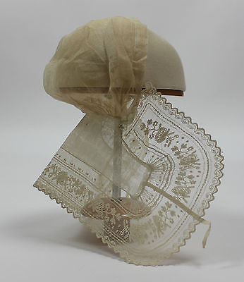 Museum Deaccession Lovely Early Antique White Cotton Baby's Lace Cap