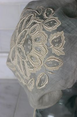Museum Deaccession Early Antique White Cotton Women's Embroidered Cap