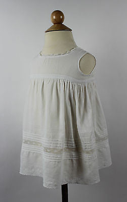 Antique White Cotton Child's Dress with Tucks, Lace and Embroidery