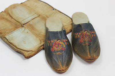 Antique Women's Leather Slipper Shoes with Original Case Japanese 19th Century