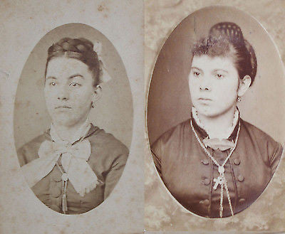 2 Original Antique CDV's each with a Portrait of a Woman from the Late 19th C