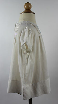 Antique White Cotton Child's Dress with Blue Floral Embroidery