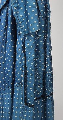 Two Piece Blue and White Polka Dots Silk Foulard Bustle Gown from the 1880's
