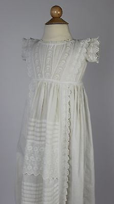 Lovely Antique Child's Dress in White Cotton