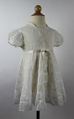 Antique White Child's Dress with Lace Trim and Bows