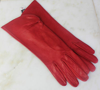 Vintage Pair of Red Leather Gloves from Saks Fifth Avenue