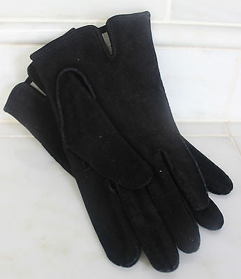 Vintage Pair of Women's Black Suede Gloves with Pure Silk Lining