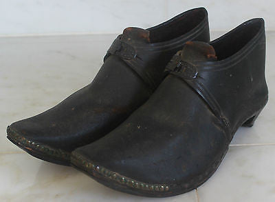 Men's 19th Century Black Leather Shoes with Buckles and Wooden Soles