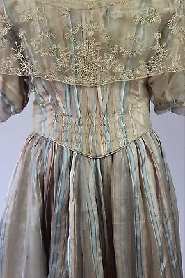 Nineteenth Century Two Piece Striped Silk Gauze Ball Gown with Lace Trim c. 1830