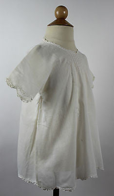 Antique White Cotton Child's Dress with Floral and Butterfly  Embroidery