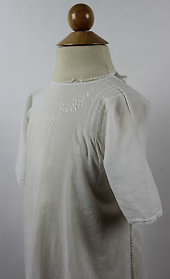 Antique White Cotton Child's Dress with floral Embroidery