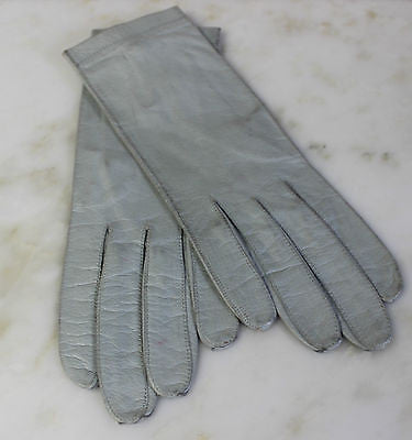 Antique Pair of Blue Leather Gloves with Pearls Made in France Andre David