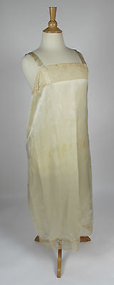 Vintage Women's Cream Silk Slip with Lace Trim
