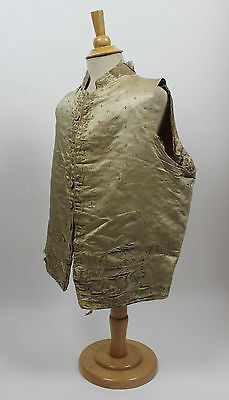 Gentlemen's 18th Century Silk Waistcoat with Embroidery and Velvet Interior