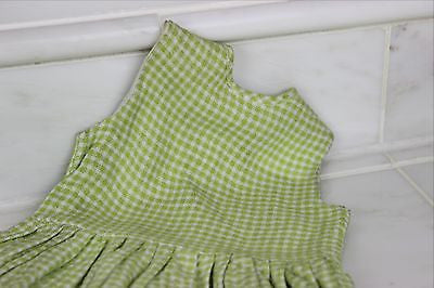 Vintage Antique Green and White Wool Baby's Dress or Doll's Dress
