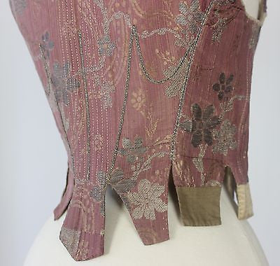 MET Museum Deaccessioned 18th Century Metallic Brocade Stays, French c. 1750