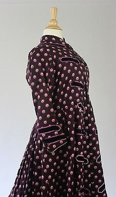 Nineteenth Century Printed Wool Maternity Gown with Drawstring Waist c.1860