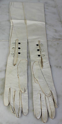 Antique Pair of White Long Leather Opera Gloves with Mother of Pearl Buttons