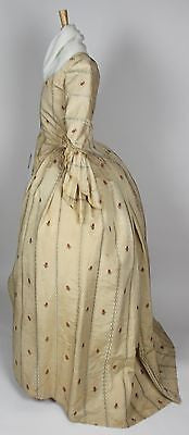 MET Museum 18th Century British Ribbed Ivory Silk Brocade Floral Stripes Robe