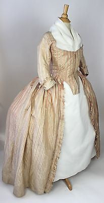 18th Century Taffeta Striped Robe a la Francaise Bodice and Overskirt c. 1775