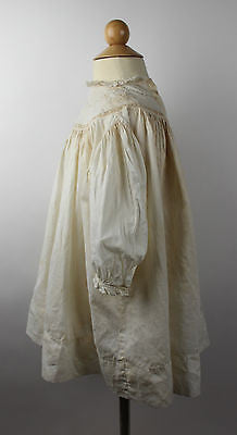 Antique White Cotton Child's Dress Wth Heart Embroidery