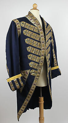 18th Century Blue Wool Cloth Coat with Eagles and Crossed Batons Trim